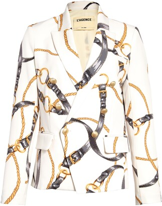 L'Agence Kenzie Harness Print Double Breasted Blazer
