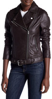 Soia & Kyo Belted Genuine Leather Moto Jacket