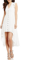 Takara Button-Front V-Neck Flutter-Sleeve High-Low Dress