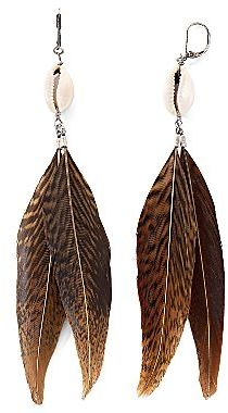 Mng By Mango® Feather & Shell Earrings