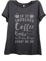 Thread Tank Coffee Books Rainy Days Women Relaxed T-Shirt Tee Charcoal Grey 2XL
