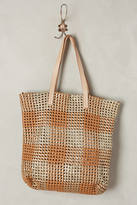 Anthropologie Woven Plaid Tote