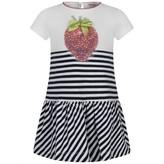 MonnaLisa MonnalisaBaby Girls White & Navy Striped Strawberry Dress