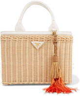 Prada Midollino Tasseled Canvas And Leather-trimmed Wicker Tote - White