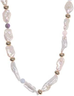 Carolee Eden Gold Plated Bead, Semi Precious Stone & Keshi Pearl Necklace