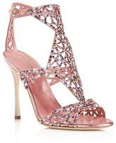 Sergio Rossi Baby Rose Swarovski Crystal Tresor Gladiator High Heel Sandals