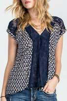 Miss Me Navy Floral Lace Blouse