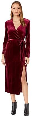 Bardot Morgan Velvet Dress (Burgundy) Women's Clothing