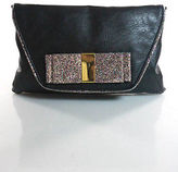 Topshop Black Leather Glitter Snap Close Gold Tone Chain Strap Clutch Handbag