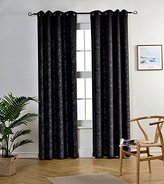 MYSKY HOME Grommet top Leaf Embossed Window Blackout Curtain Panel for Kids Bedroom, 52 by 95 inch, Black(1 panel)
