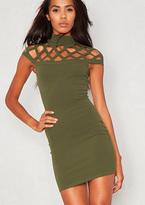 Missy Empire Toni Green Laser Cut Highneck Bodycon Dress
