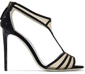 Giorgio Armani Crystal-embellished Suede And Mesh Sandals