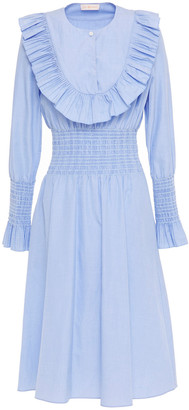 Tory Burch Ruffled Shirred Cotton-chambray Dress