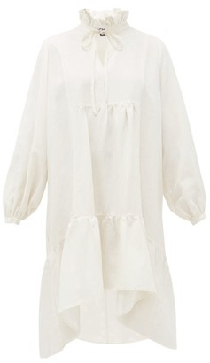ÀCHEVAL PAMPA Vallia Ruffle-neck Silk-backed Linen Dress - Womens - White