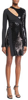 Thierry Mugler Long-Sleeve Sequined Cutout Mini Dress, Black