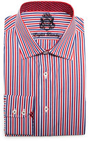 English Laundry Striped Woven Dress Shirt, Red/Blue