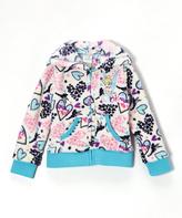 Children's Apparel Network Beige Hearts Tinker Bell Fleece Hooded Zip-Up - Girls