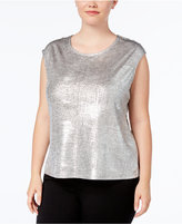 Calvin Klein Plus Size Metallic Button-Shoulder Shell