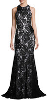 Theia Beaded Sleeveless Lace Mermaid Gown, Black/White