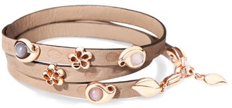 Tamara Comolli Loopy 18K Rose Gold & Moonstone Embossed Leather Wrap Bracelet