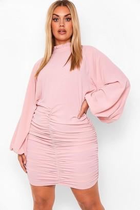 boohoo Plus High Neck Ruched Mini Dress