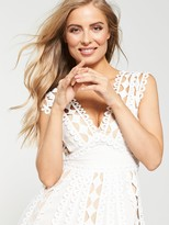 Very Lace Trim Prom Dress - White