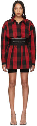 Alexander Wang Black and Red Plaid Belt Shirt Dress