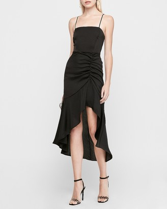 Express Satin Ruched Asymmetrical Hem Midi Dress