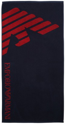 Emporio Armani Logo Printed Cotton Towel
