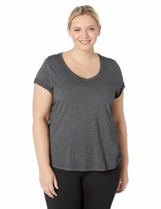 Andrew Marc Women's Plus Size Washed Short Sleeve V-Neck Tee