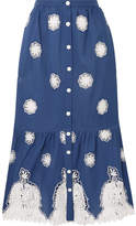 Miguelina Adrienne Versailles Broderie Anglaise-trimmed Cotton-voile Midi Skirt - Blue