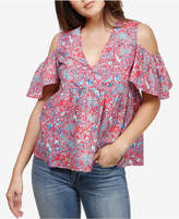 Lucky Brand Cold-Shoulder Babydoll Top