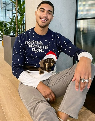 ASOS DESIGN knitted christmas sweater with dachshund design