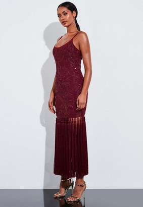 Missguided Burgundy Embellished Tassel Hem Maxi Dress