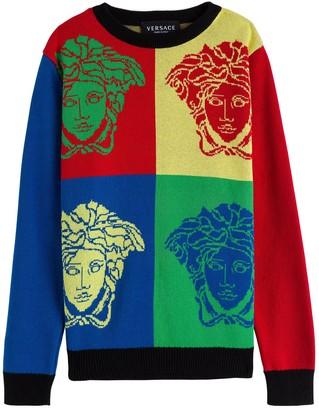 Versace Medusa Color Block Cotton Sweatshirt