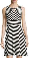 Chetta B Striped Keyhole Crepe Dress, Black/White