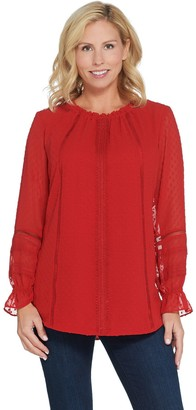 Isaac Mizrahi Live! Clipped Dot Peasant Blouse with Lace Trim