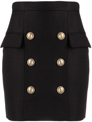 Balmain Button Detail Mini Skirt