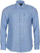 Barbour Men's Felix Light Blue Plaid Linen Shirt