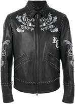 Roberto Cavalli printed studded jacket - men - Cotton/Leather/Cupro/Viscose - 50