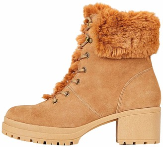 Find. Mid Height Faux Fur Lace Up Ankle Boots Brown Tan) 8 UK