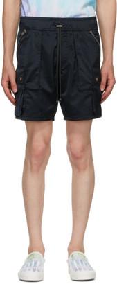 Amiri Black Satin Cargo Shorts