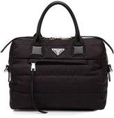 Prada Tesutto Bomber Satchel Bag with Strap, Black (Nero)
