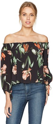 ASTR the Label Women's Chavelle Off The Shoulder Floral Print Top