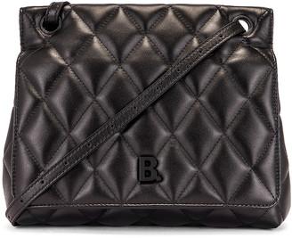 Balenciaga Medium Quilted Leather B Shoulder Bag in Black | FWRD