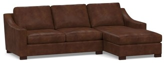 Pottery Barn Turner Slope Arm Leather Sofa Chaise Sectional