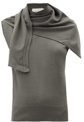 Lemaire Scarf-neck Wool-blend Sleeveless Sweater - Dark Grey
