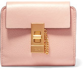 Chloé Drew Small Textured-leather Wallet - Blush