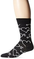 Happy Socks Men's 1pk Unisex Combed Cotton Crew-Black Hearts and Arrows