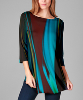 Lily Blue & Brown Abstract Tunic - Plus Too